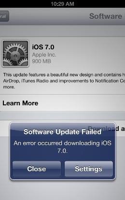 iOS 7 Download Error: Software Update Unavailable - Jain Technosoft