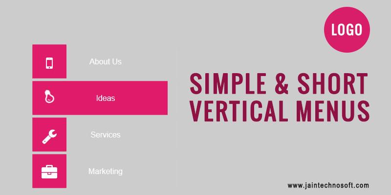 Simple and Short Vertical Website Menus